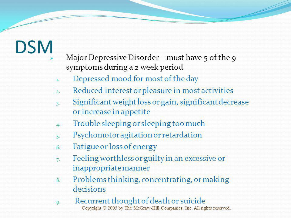 DSM Major Depressive Disorder – must have 5 of the 9 symptoms during a 2 week period. Depressed mood for most of the day.