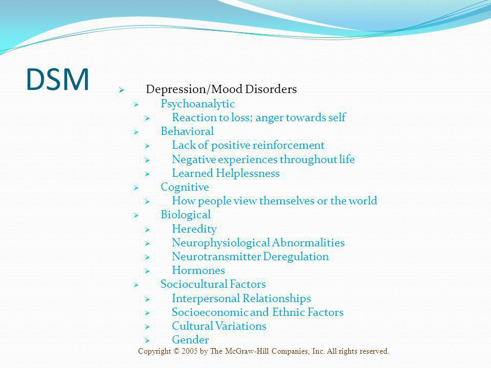 DSM Depression/Mood Disorders Psychoanalytic
