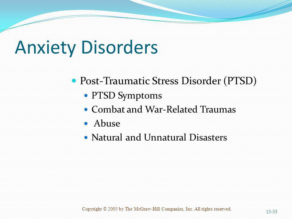 Anxiety Disorders Post-Traumatic Stress Disorder (PTSD) PTSD Symptoms