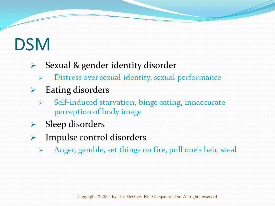 DSM Sexual & gender identity disorder Eating disorders Sleep disorders