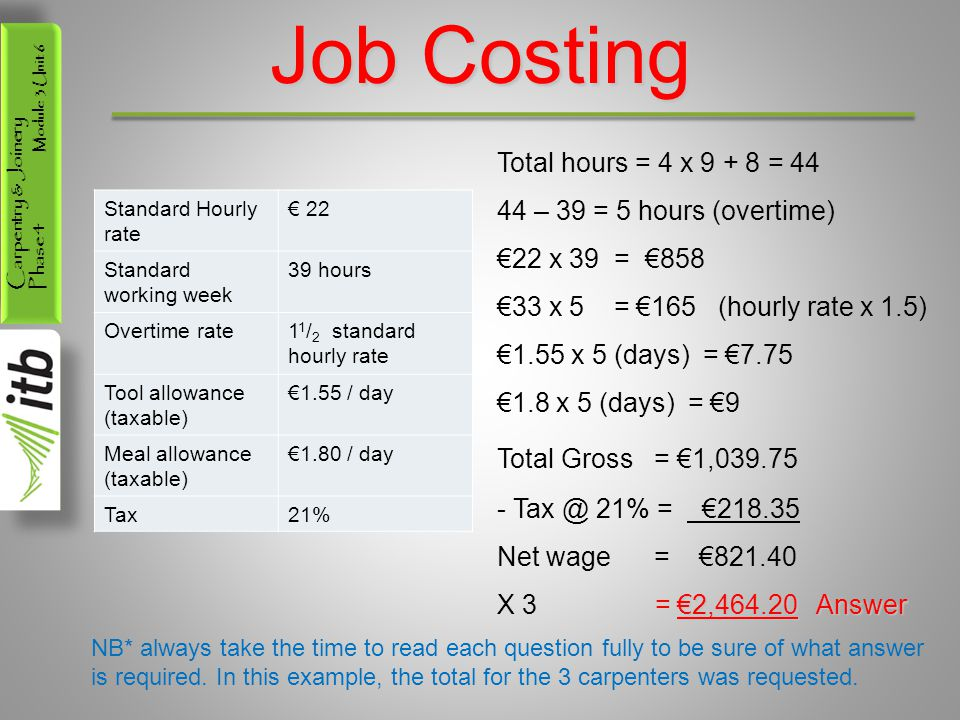 Job Costing Total hours = 4 x 9 + 8 = 44 44 – 39 = 5 hours (overtime)