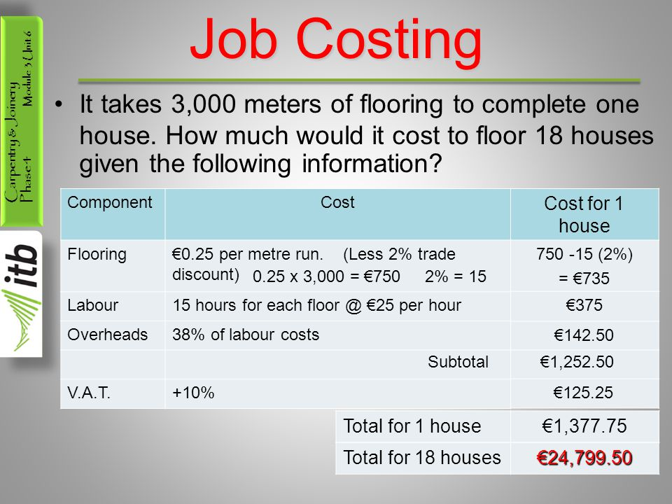 Job Costing It takes 3,000 meters of flooring to complete one house. How much would it cost to floor 18 houses given the following information