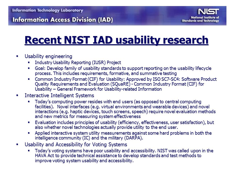 Recent NIST IAD usability research