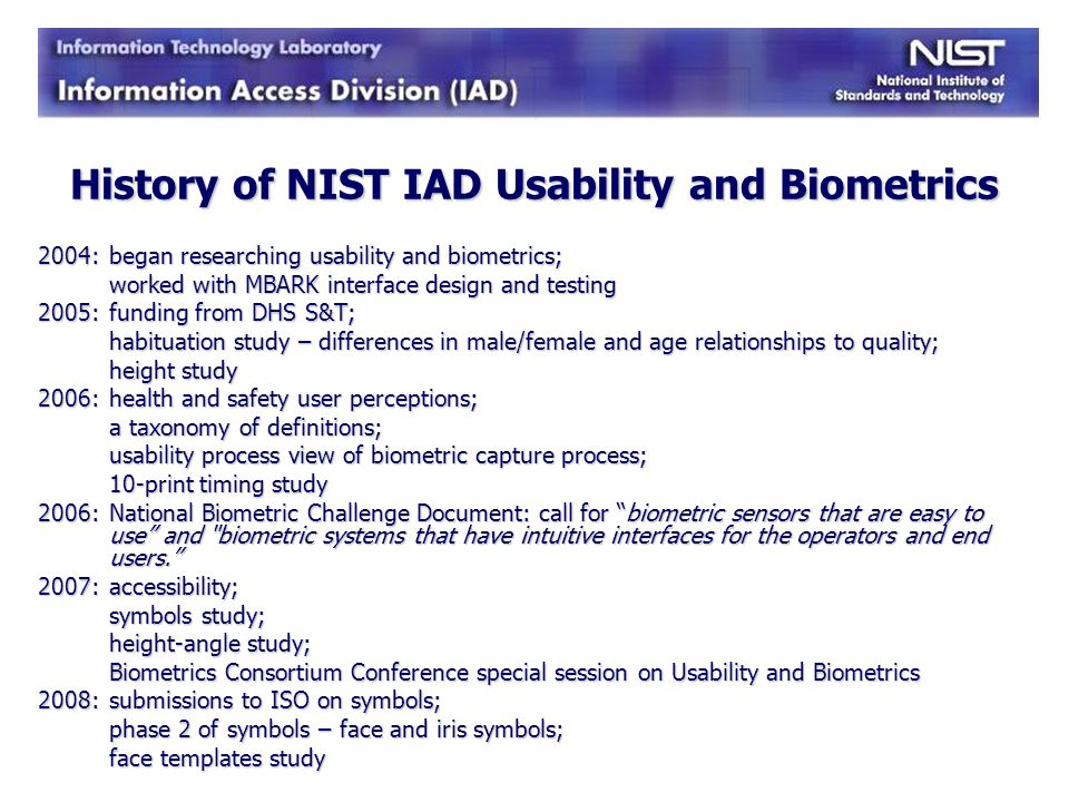 History of NIST IAD Usability and Biometrics