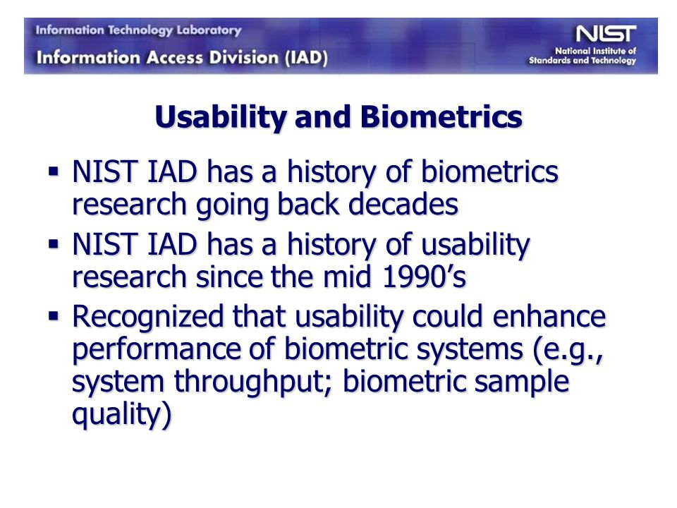 Usability and Biometrics