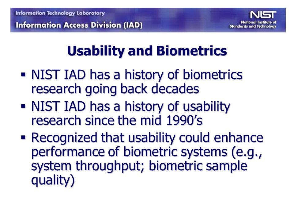 Usability and Biometrics