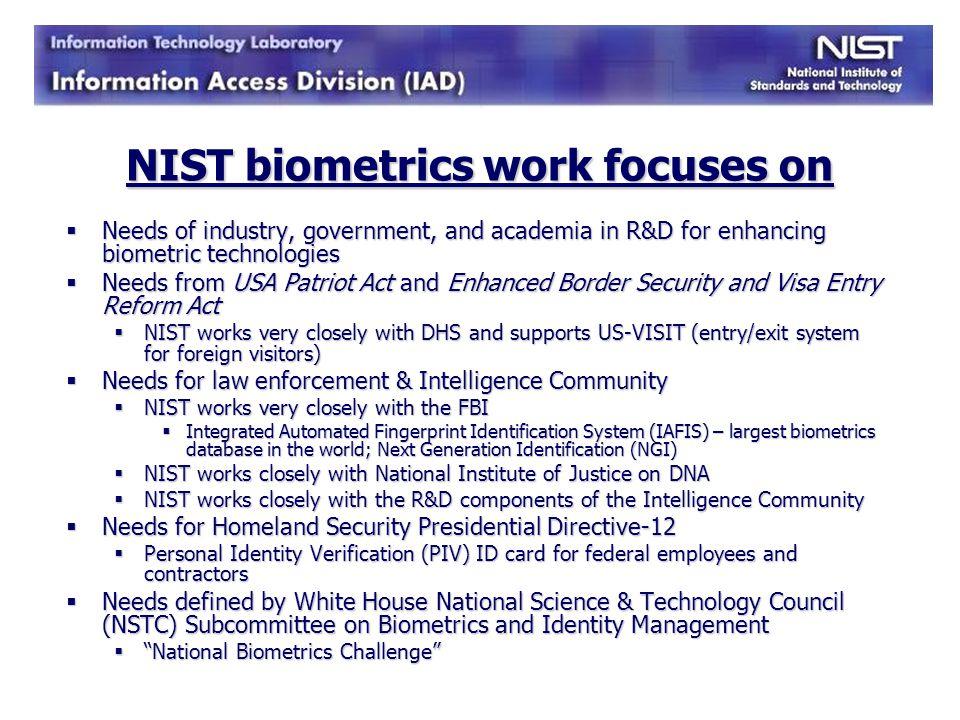 NIST biometrics work focuses on