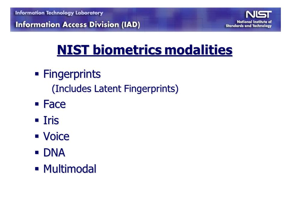 NIST biometrics modalities