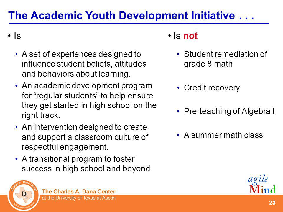 Goals of the AYD Initiative