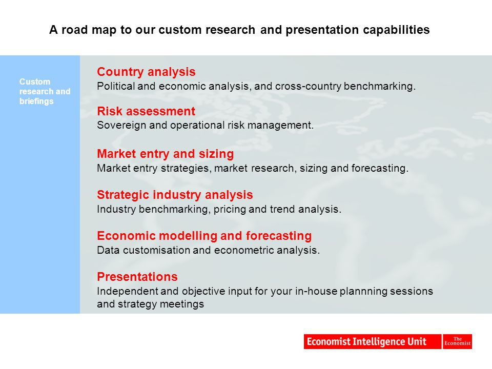 A road map to our custom research and presentation capabilities