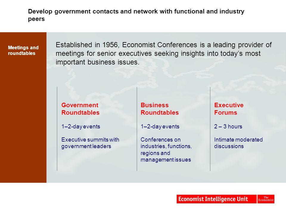 Develop government contacts and network with functional and industry peers