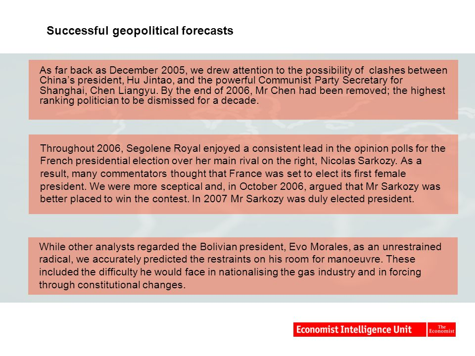 Successful geopolitical forecasts