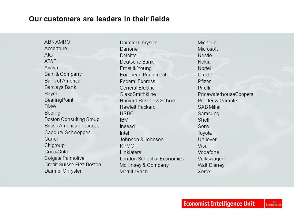 Our customers are leaders in their fields