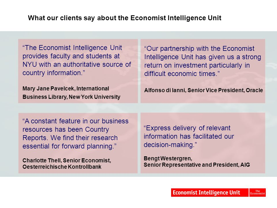 What our clients say about the Economist Intelligence Unit