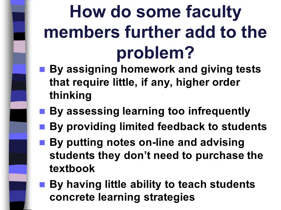 How do some faculty members further add to the problem