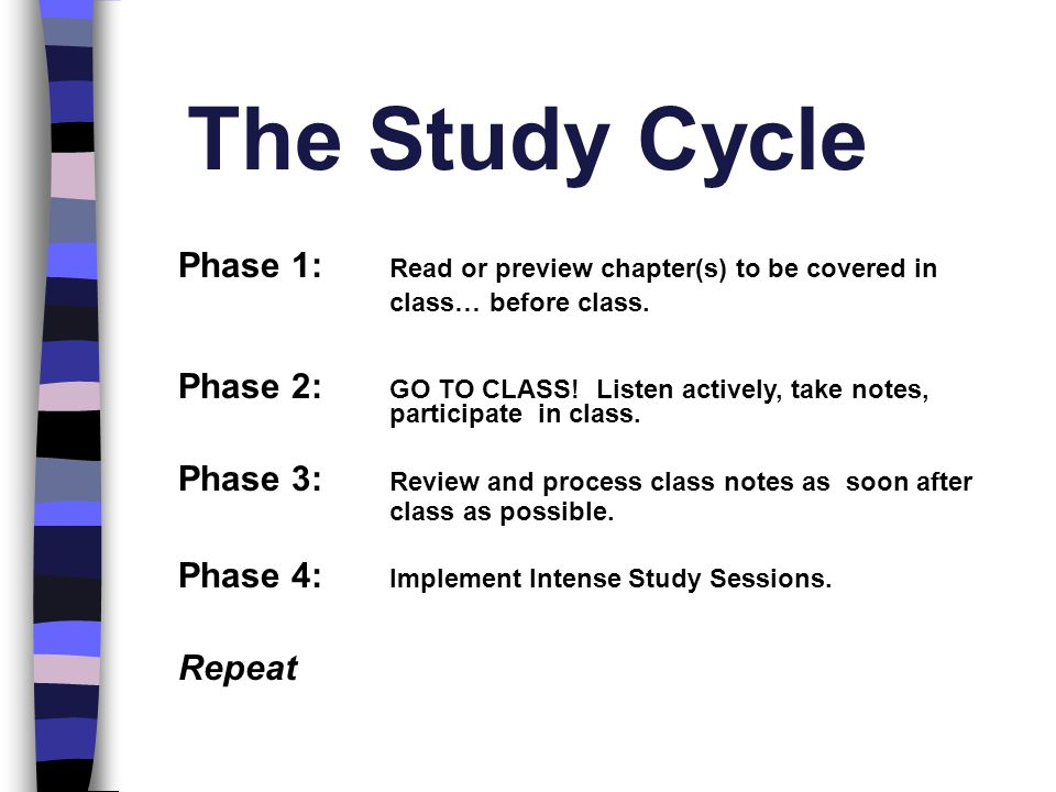 The Study Cycle Phase 1: Read or preview chapter(s) to be covered in class… before class.