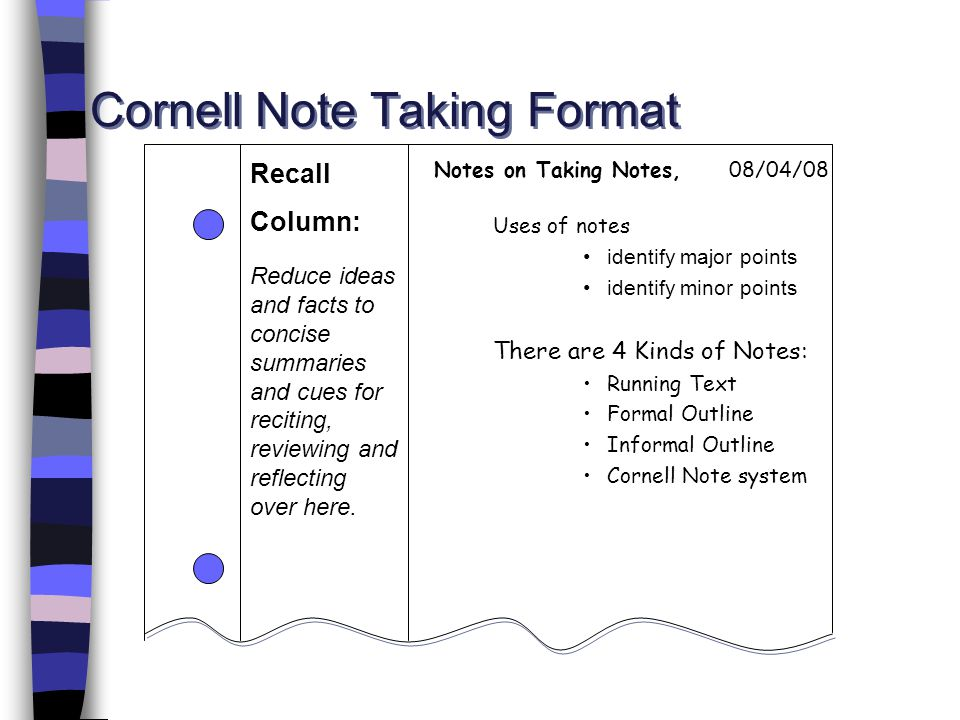 Cornell Note Taking Format