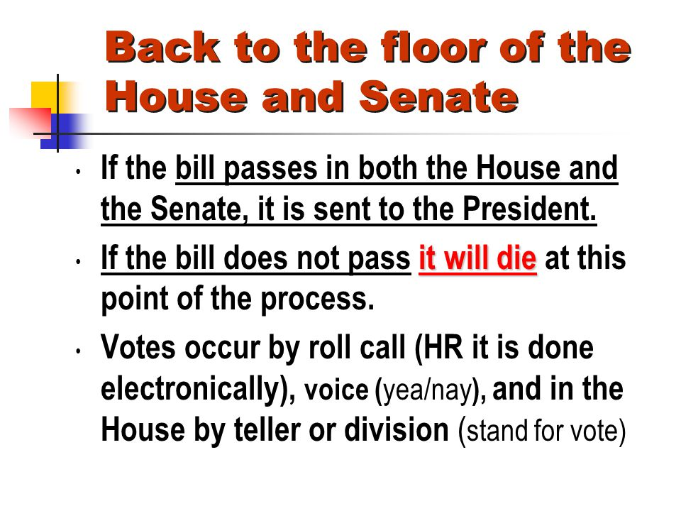 Back to the floor of the House and Senate