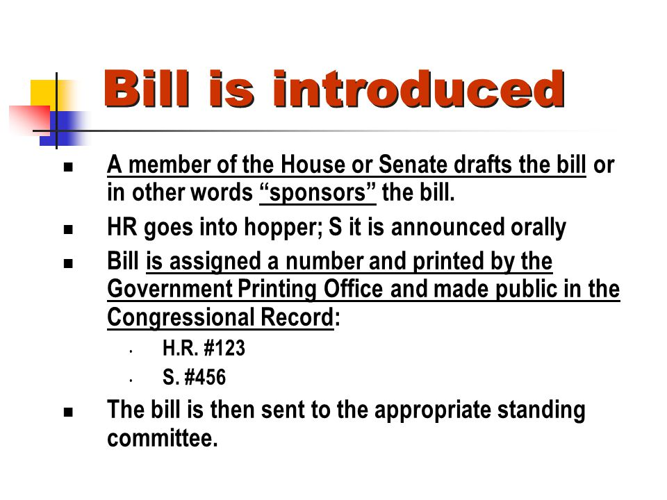 Bill is introduced A member of the House or Senate drafts the bill or in other words sponsors the bill.