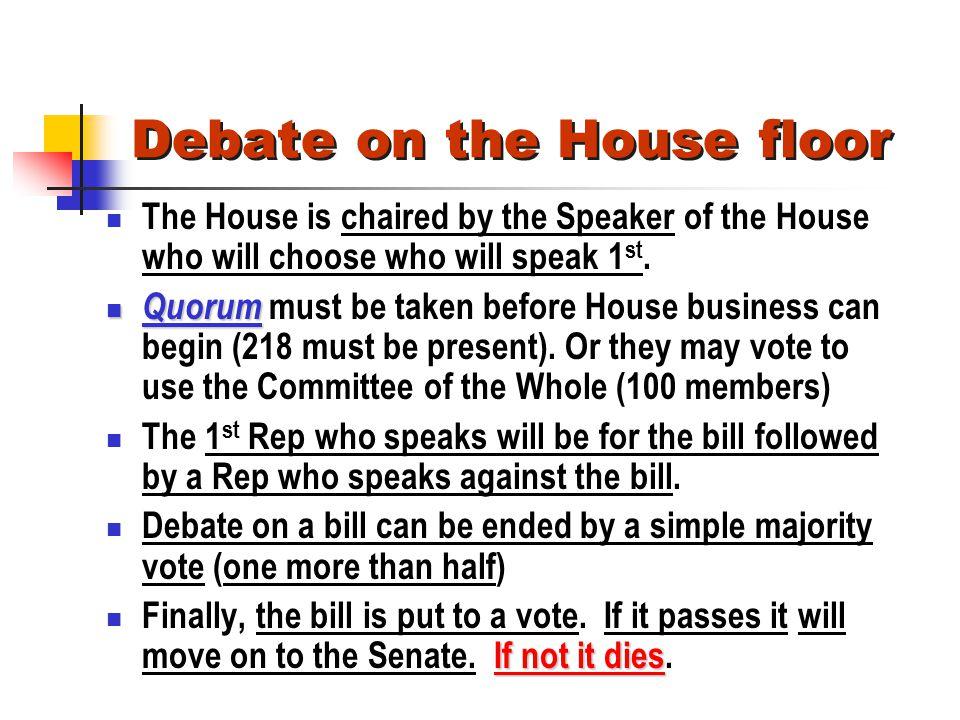 Debate on the House floor