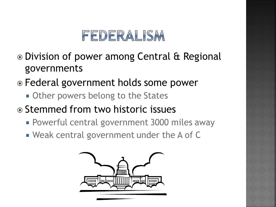 Federalism Division of power among Central & Regional governments