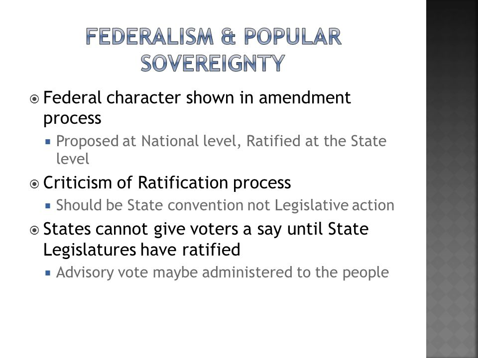 Federalism & Popular Sovereignty