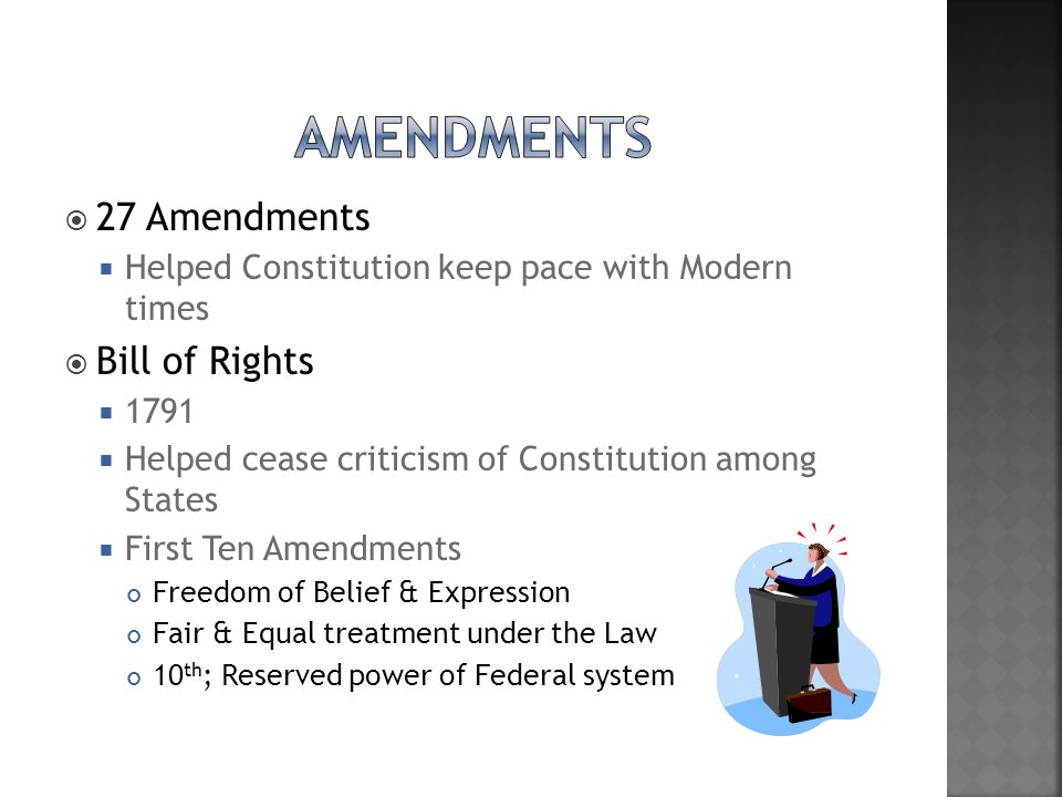 Amendments 27 Amendments Bill of Rights