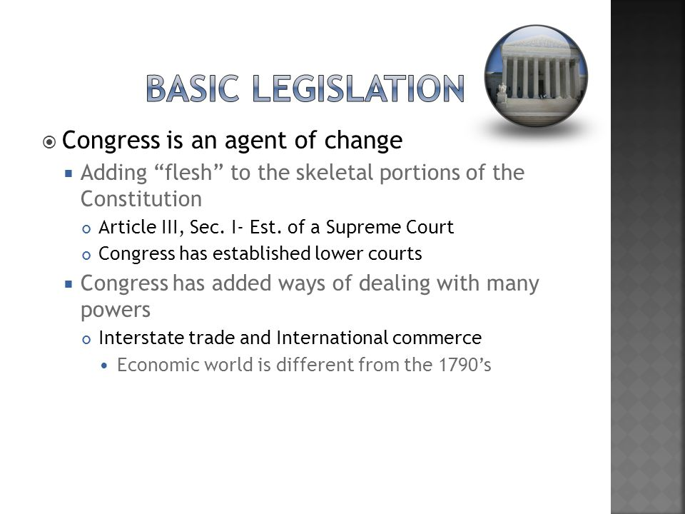Basic Legislation Congress is an agent of change