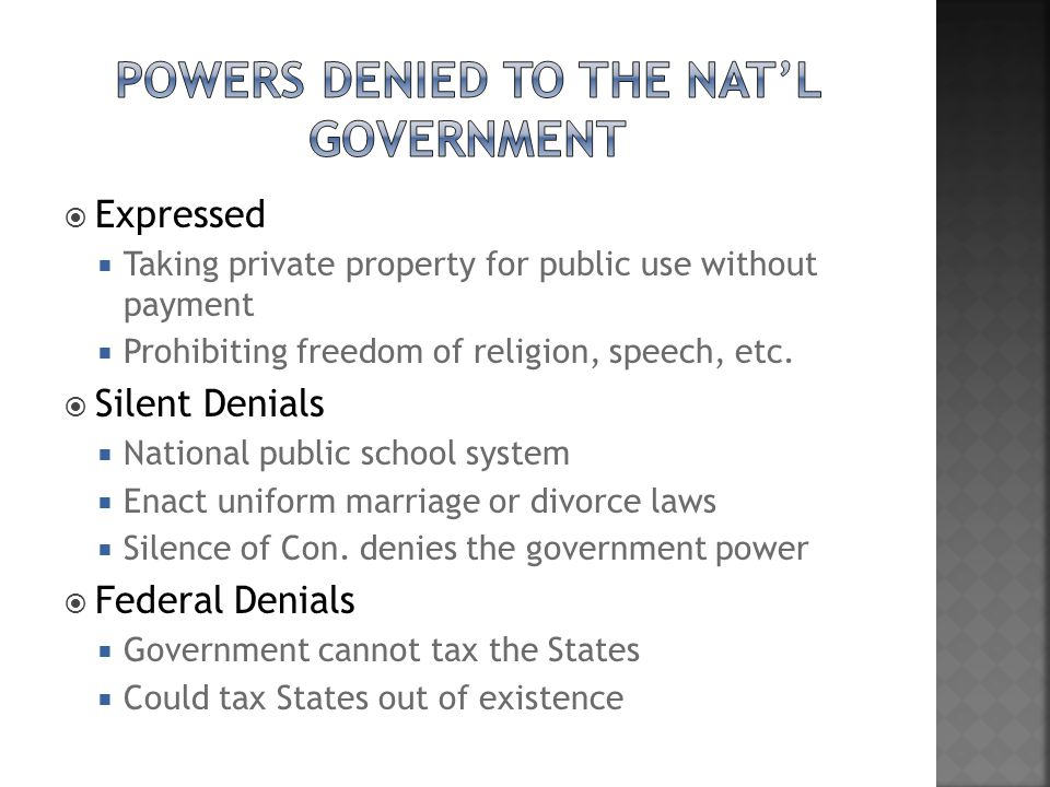 Powers Denied to the Nat'l Government