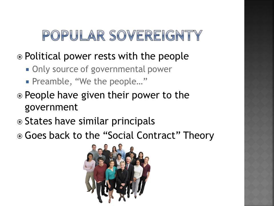 Popular Sovereignty Political power rests with the people