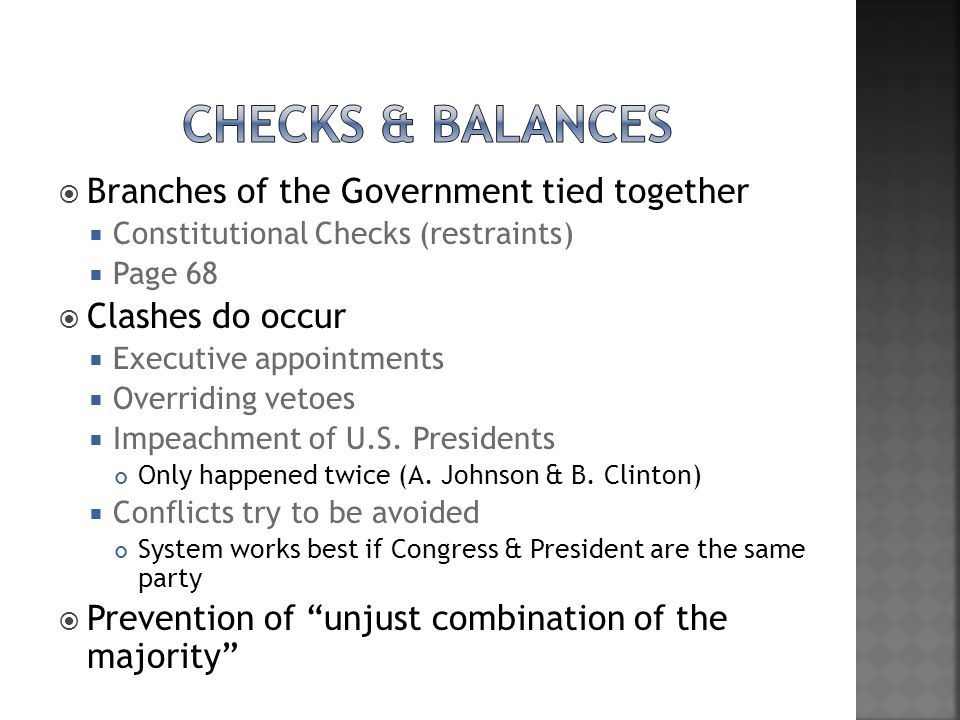 Checks & Balances Branches of the Government tied together