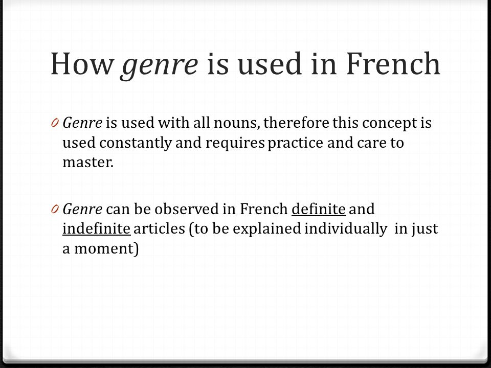How genre is used in French
