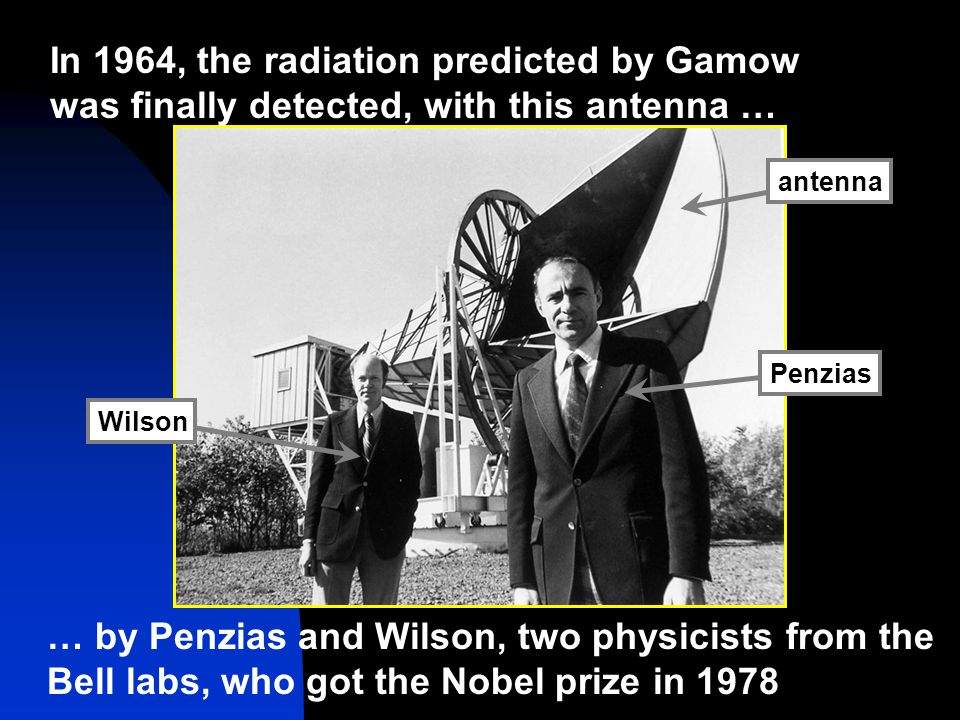 In 1964, the radiation predicted by Gamow