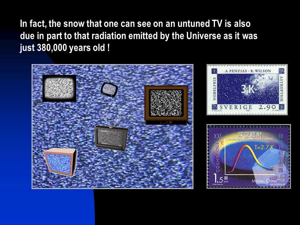 In fact, the snow that one can see on an untuned TV is also due in part to that radiation emitted by the Universe as it was just 380,000 years old !
