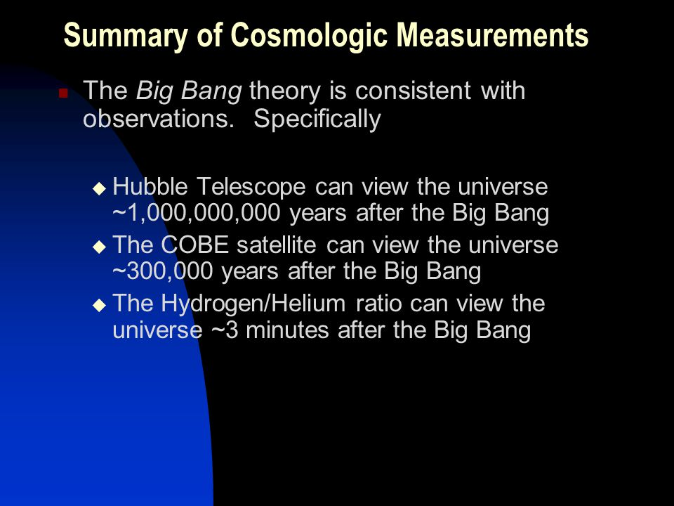 Summary of Cosmologic Measurements