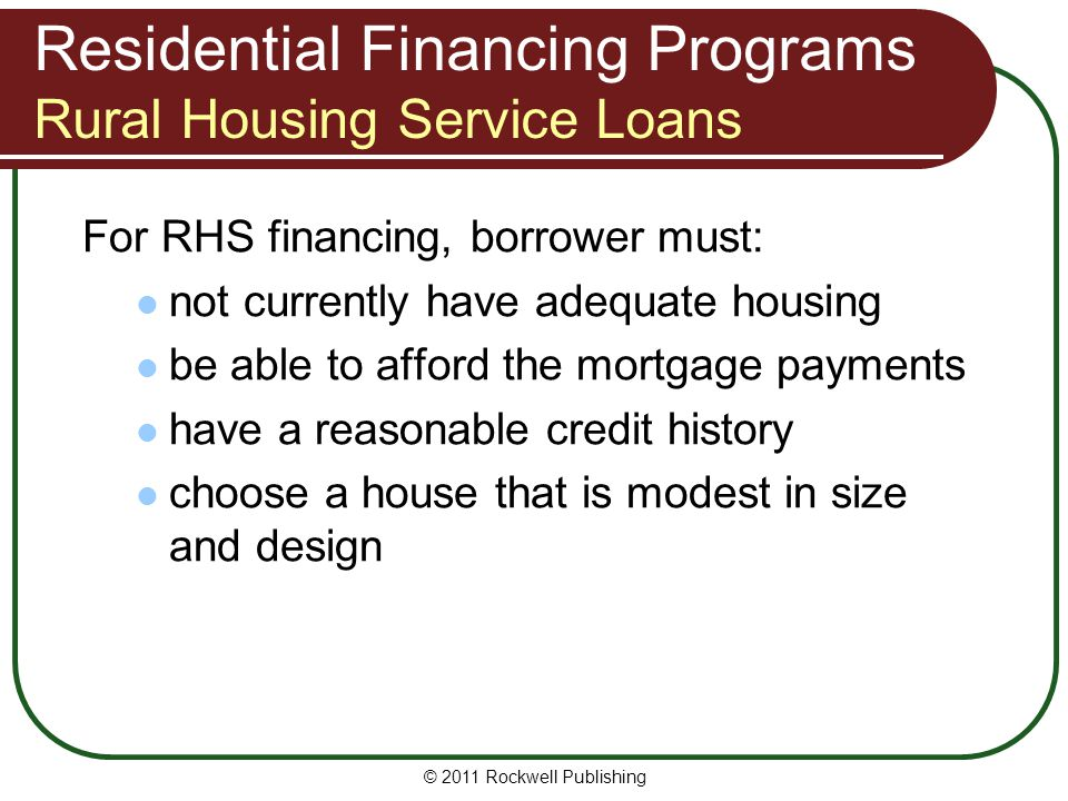 Residential Financing Programs Rural Housing Service Loans