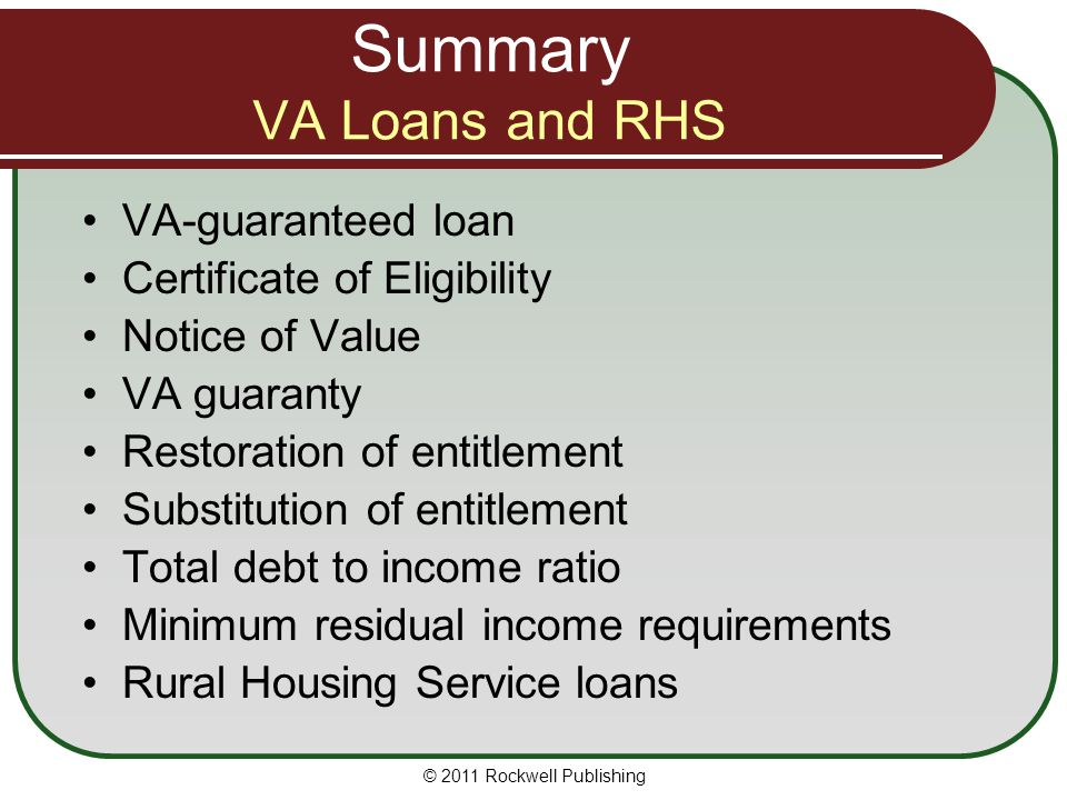 Summary VA Loans and RHS