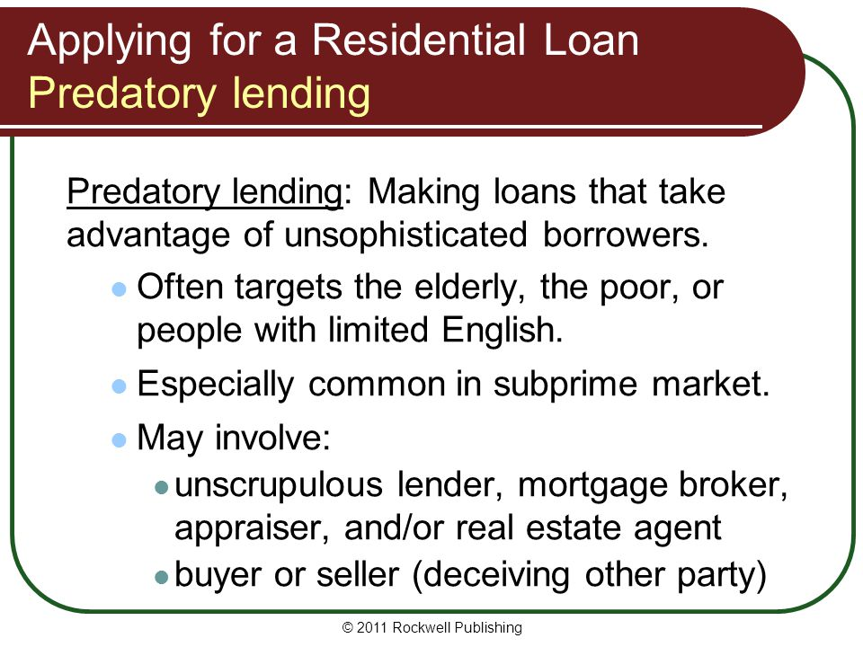 Applying for a Residential Loan Predatory lending