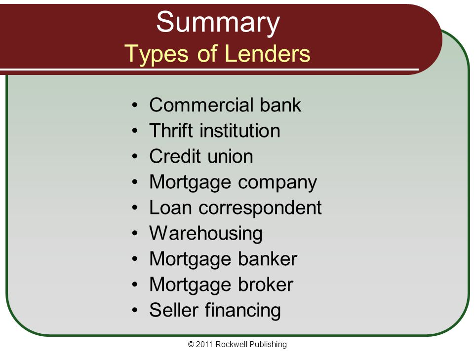 Summary Types of Lenders
