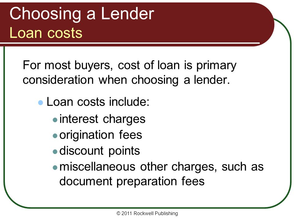 Choosing a Lender Loan costs