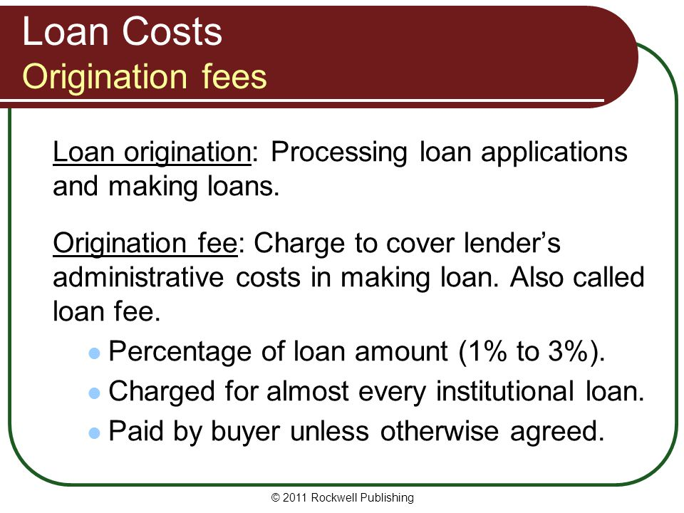 Loan Costs Origination fees
