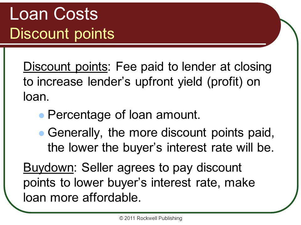 Loan Costs Discount points