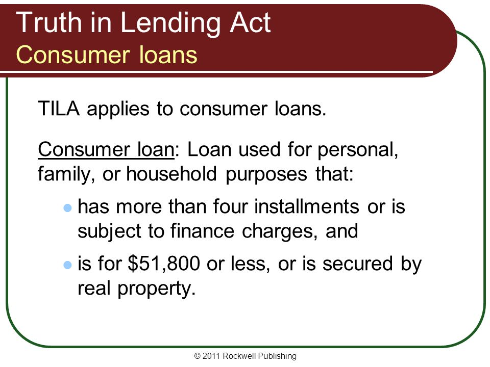 Truth in Lending Act Consumer loans