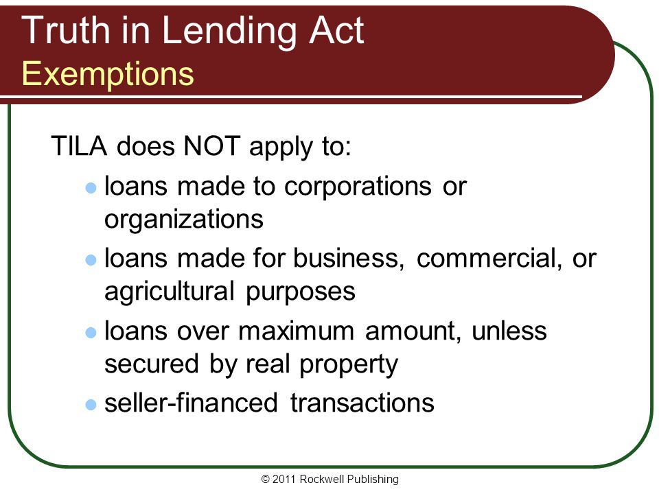 Truth in Lending Act Exemptions