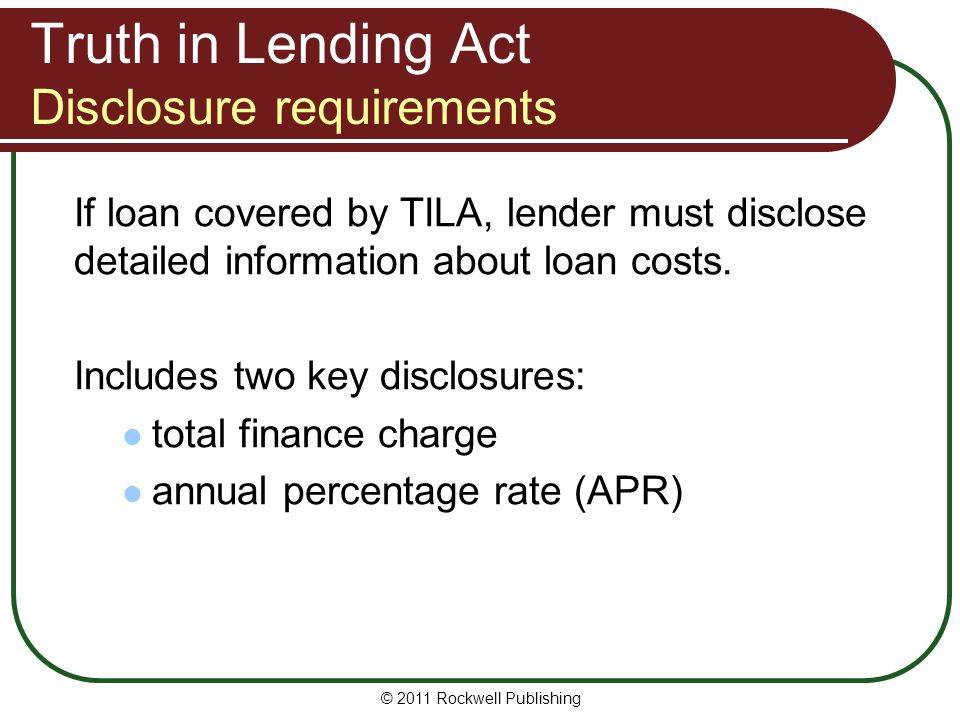 Truth in Lending Act Disclosure requirements