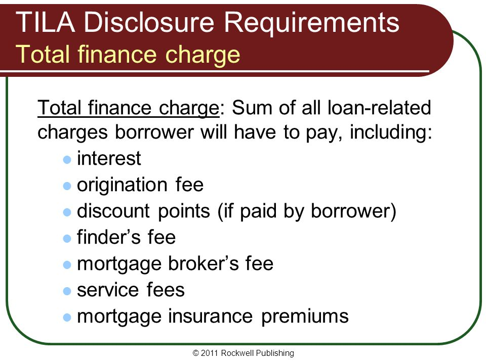 TILA Disclosure Requirements Total finance charge