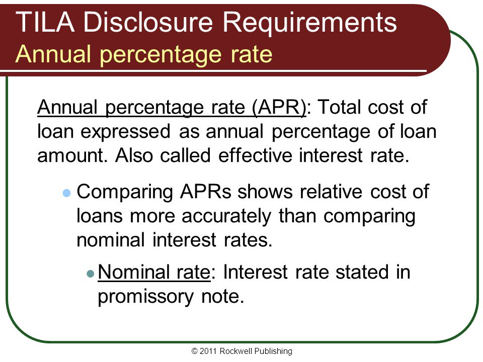 TILA Disclosure Requirements Annual percentage rate
