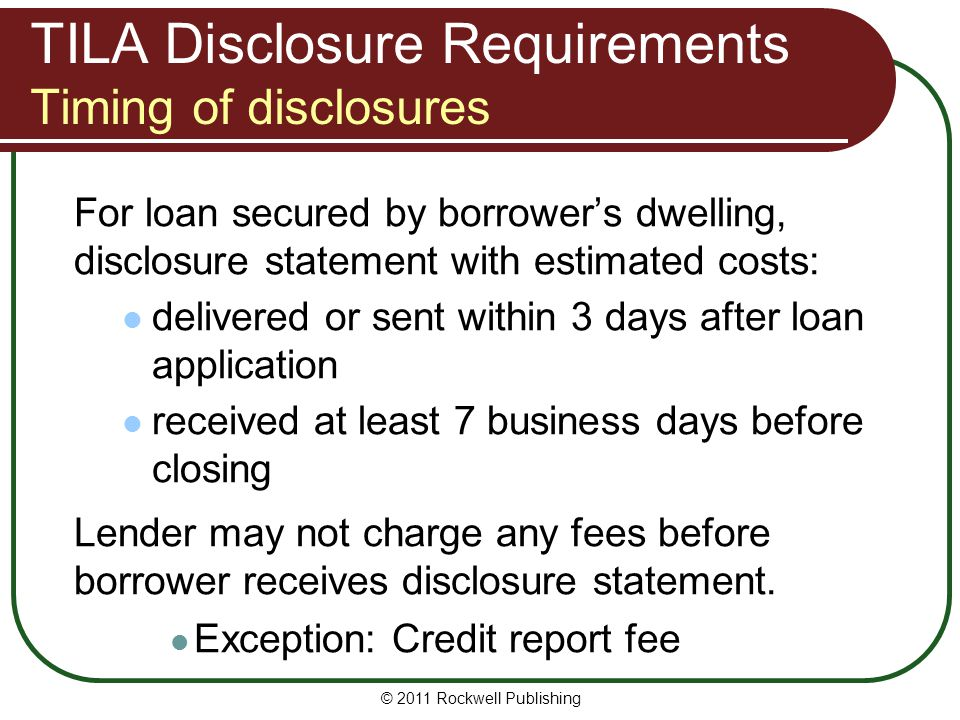 TILA Disclosure Requirements Timing of disclosures