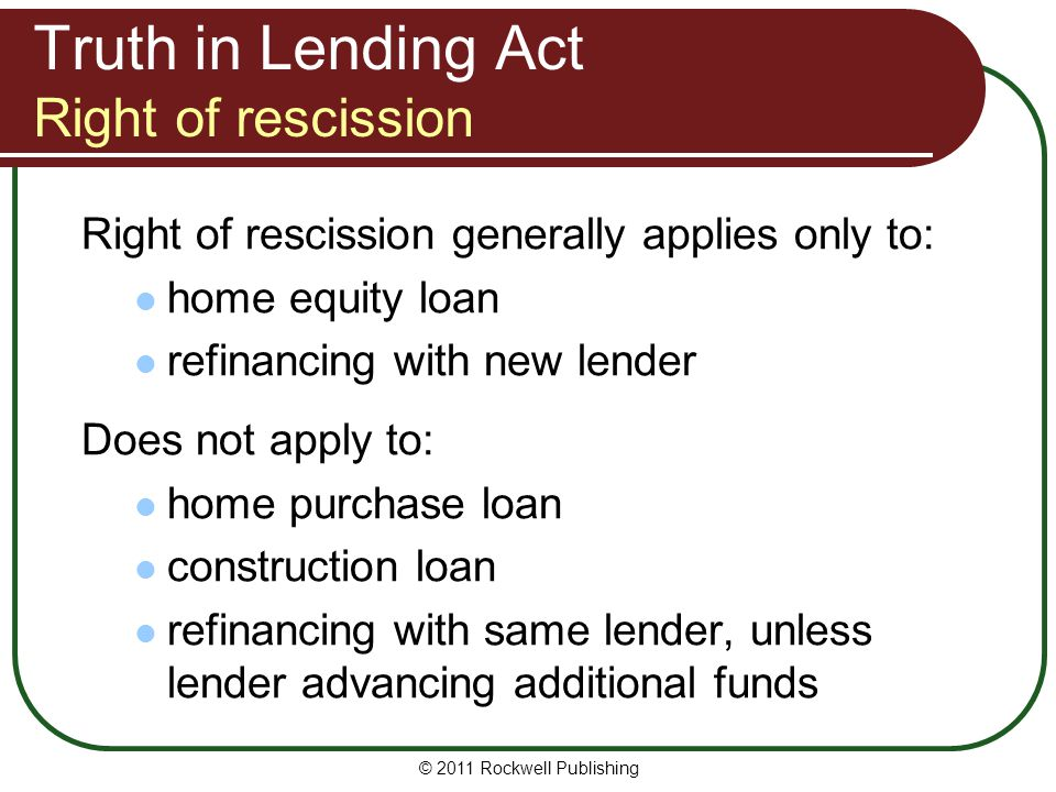 Truth in Lending Act Right of rescission