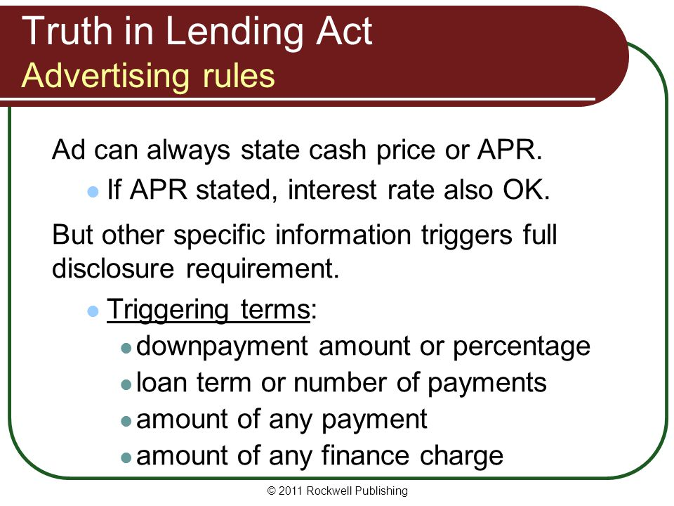 Truth in Lending Act Advertising rules